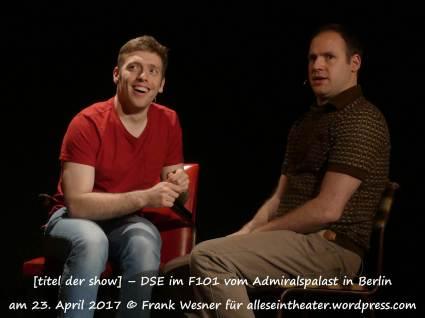 [titel der show] – DSE im F101 vom Admiralspalast in Berlin am 23. April 2017 © Frank Wesner