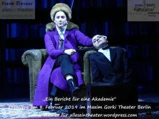 """""""Ein Bericht für eine Akademie"""" – Premiere am 8. Februar 2019 im Maxim Gorki Theater Berlin © Frank Wesner"""
